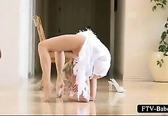 Super Hot Golden-haired Gymnast Ball Stretching Bare Body