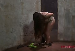 Locked Brunette Is Handcuffed And Has To Eat Spoiled Corn