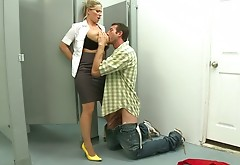 Devon Lee Gets Her Pussy Fucked And Tits Palmed In The Toilet Room